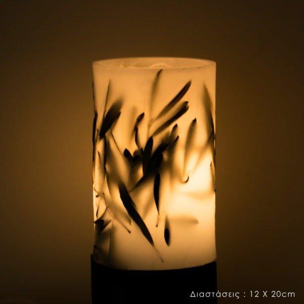 φωτιστικά κέρινα led με διάκοσμο kerino botanical lanterns φύλλα ελιάς