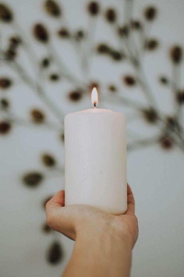 kerino κερί κορμός λευκό άοσμο για δεξιώσεις