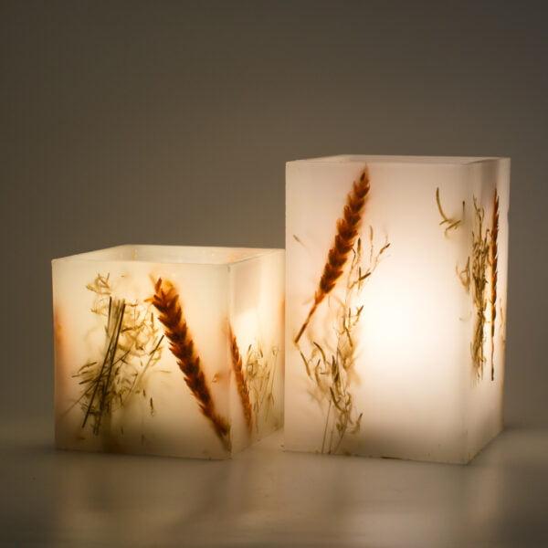 Φανάρι κερί Διακοσμητικό με σταχυ και Brisa Φυσική αναμμένο