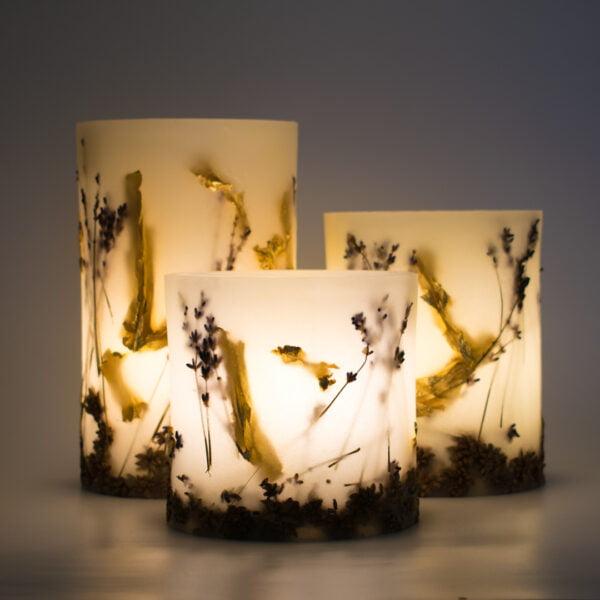 φαναρι κερι λεβαντα φύλλα χρυσού