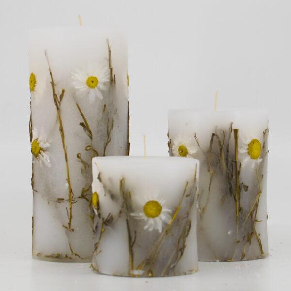Botanical Candle Μαργαρίτες αρωματικό χειροποίητο κερί με διάκοσμο